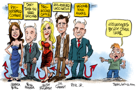 AntiVaxxer Celebrity Labels  by Daryl Cagle
